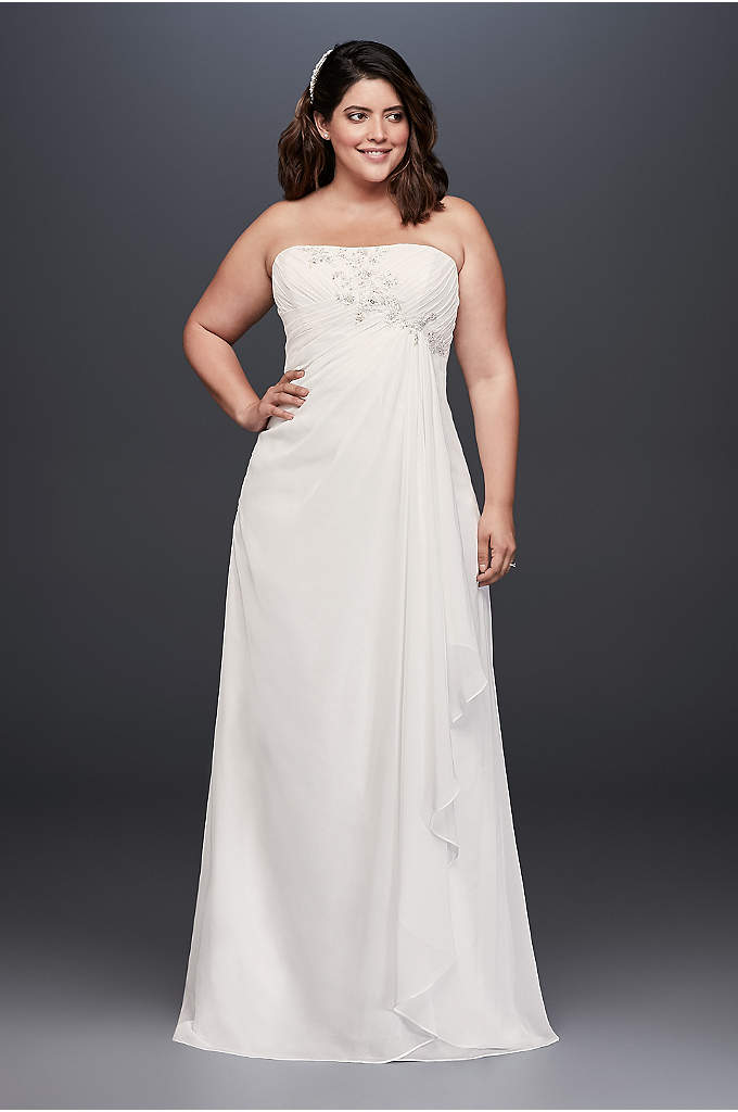 Draped and Beaded Chiffon Plus Size Wedding Dress - Soft and easy, this draped chiffon plus-size wedding