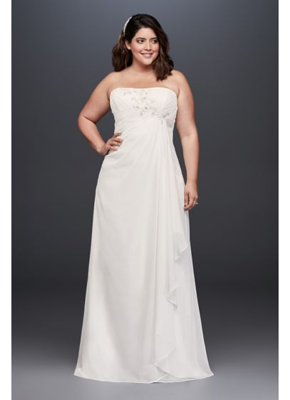 Draped and beaded chiffon plus size wedding dress david for Sheath wedding dress with beading and side drape
