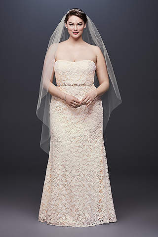 Vestido de Novia Recto de Encaje Tejido Con Sash de Listón.