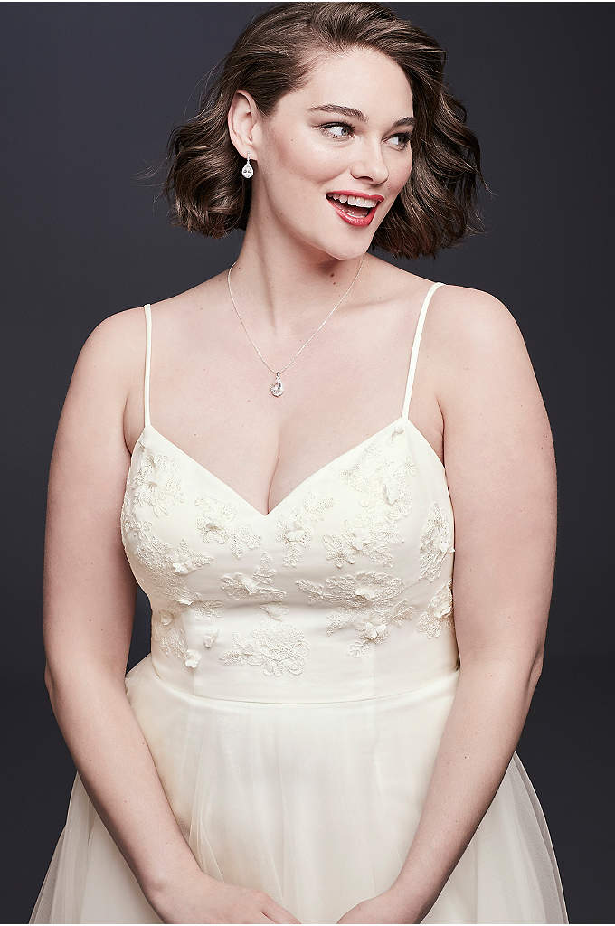 3D Floral Bodice Tulle Plus Size Wedding Dress - A free-spirited take on the traditional ball gown