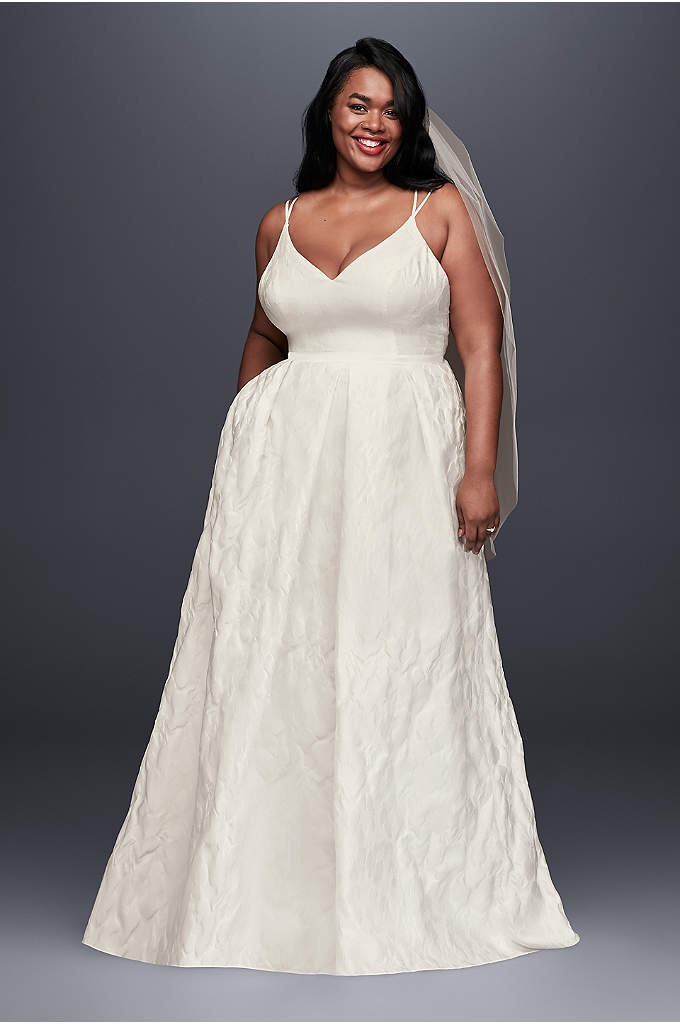 Floral Jacquard A-Line Plus Size Wedding Dress - Textured floral jacquard is an unexpected wedding dress