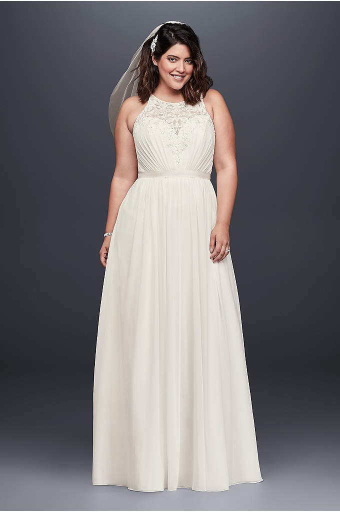 Beaded Chiffon Halter Plus Size Wedding Dress - The beaded, illusion lace bodice of this chiffon