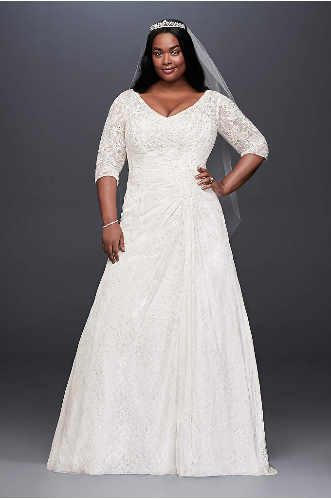 Draped Lace A-Line Plus Size Wedding Dress - Asymmetrical draping and beaded lace appliques on the