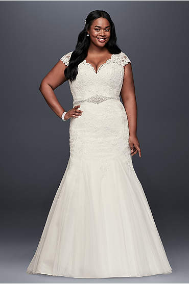 Scalloped Lace Trumpet Plus Size Wedding Dress