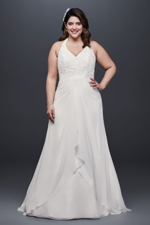 Chiffon Halter A-Line Plus Size Wedding Dress - Flattering in every way, this plus size A-line