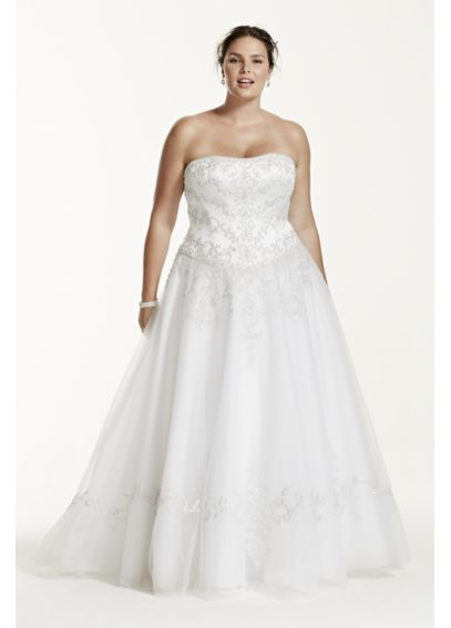 Tulle Plus Size Wedding Dress with Satin Bodice  9WG9927