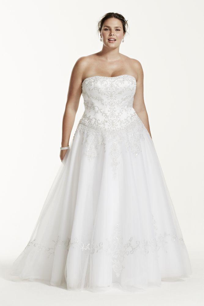 David 39 s bridal tulle plus size wedding dress with satin David s bridal strapless wedding dress