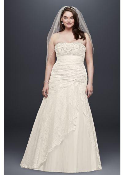 Lace a line side split plus size wedding dress davids bridal for A line plus size wedding dress