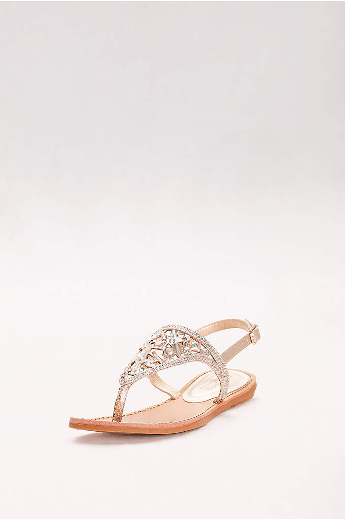 Slingback Sandals with Heavy Crystal Beading - The bold gems that cover the vamp of