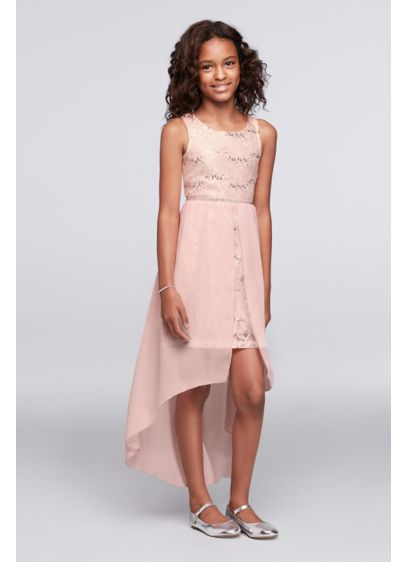 Short Pink Soft & Flowy Poppies and Roses Bridesmaid Dress