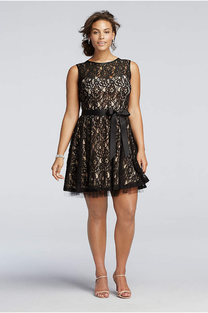 A-Line Dress with Lace and Sash Detail