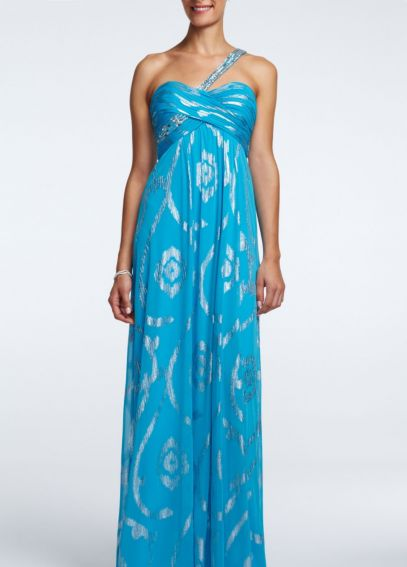 One Shoulder Beaded Jersey Dress with Foil Accent A14574