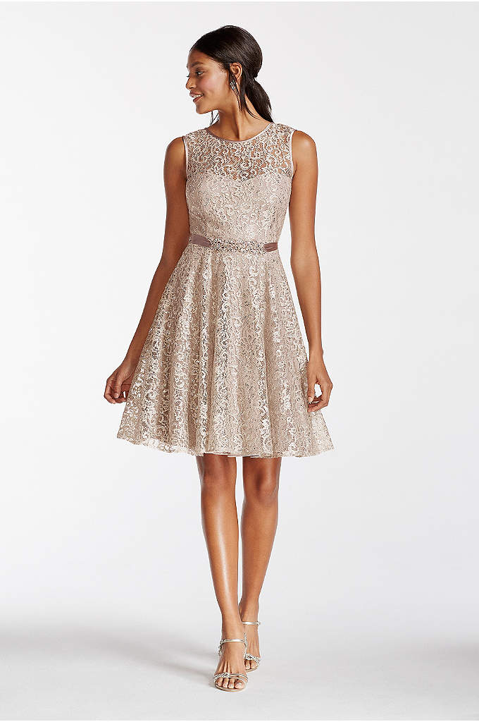 Illusion Shimmer Lace Tank Dress and Beaded Sash - Sparkle and shine in this stunning shimmer lace