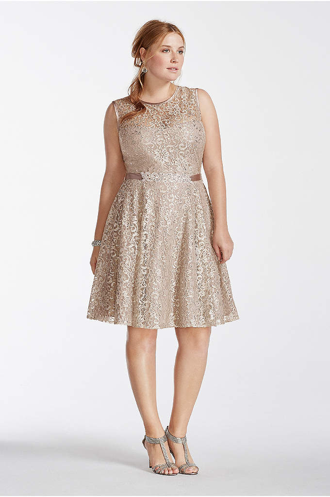 Shimmer Lace Illusion Tank Dress with Beaded Sash - Sparkle and shine in this stunning shimmer lace