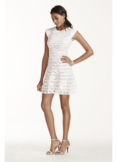 Short A-Line Cap Sleeves Graduation Dress - Betsy and Adam