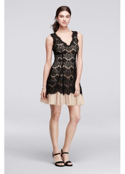 Allover Lace Dress with Short Tulle Skirt A16028