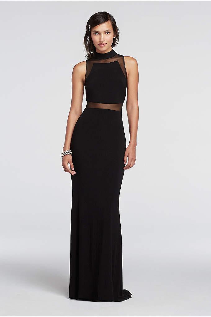 Illusion Band Floor Length Sleeveless Prom Dress