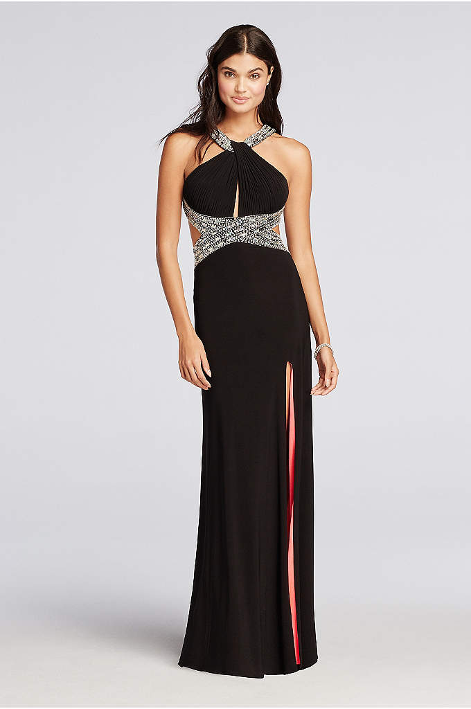 Haltered Jersey Prom Dress with Coral Lining