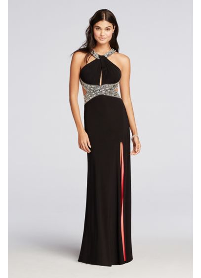 Long Sheath Halter Prom Dress - Betsy and Adam