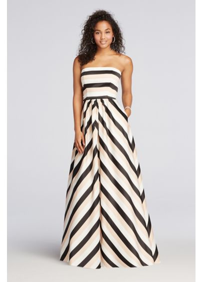 Striped Strapless Prom Dress with Pockets A17644