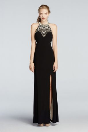 Black Beaded Prom Dress