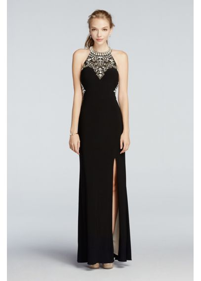 Beaded High Neck Cut Out Jersey Prom Dress A17648