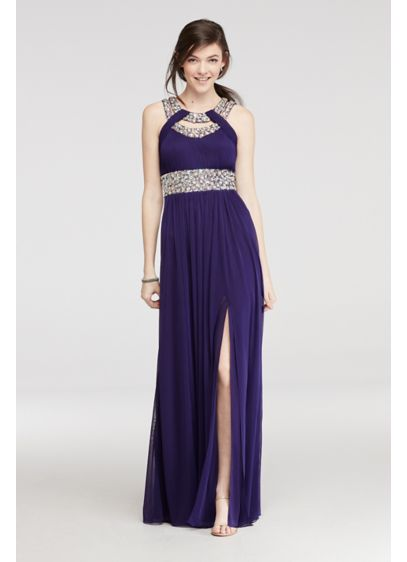 Long A-Line Halter Prom Dress - Betsy and Adam