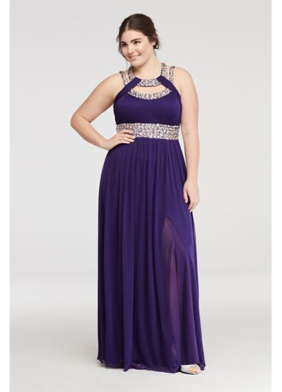 Crystal Beaded Halter Prom Dress with Cut Outs A17920W