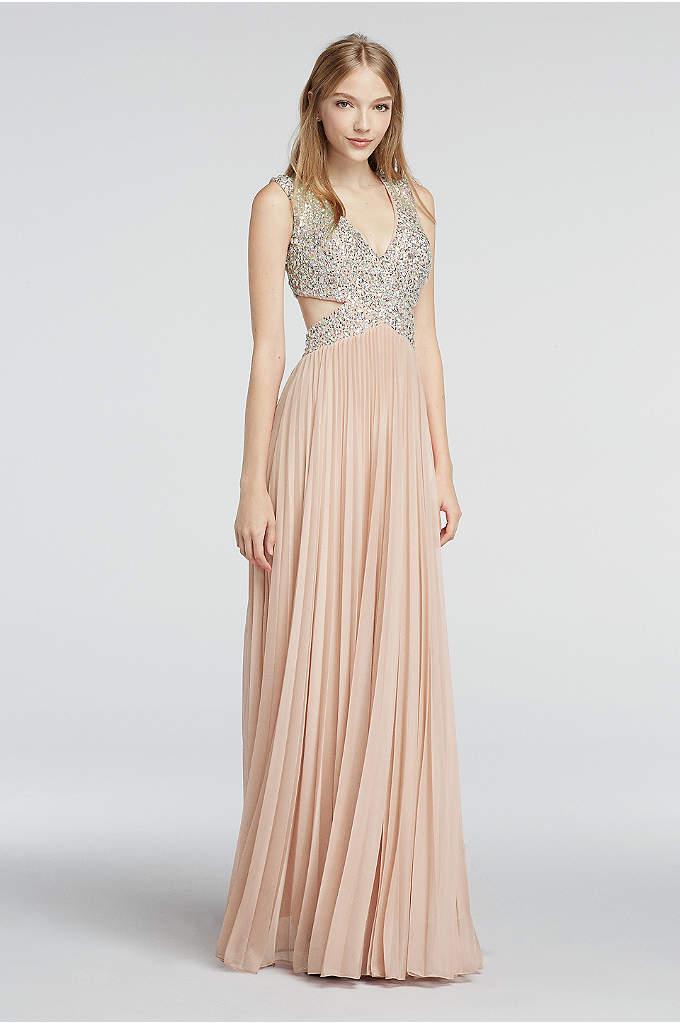 Cap Sleeve Chiffon Prom Dress with Beaded Cutouts