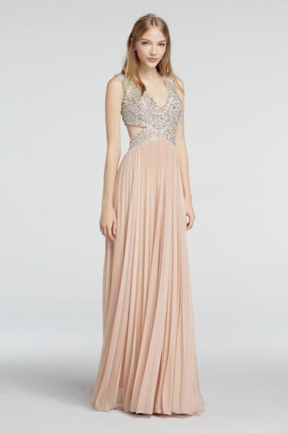 Cap Sleeve Chiffon Prom Dress with Beaded Cutouts | David's Bridal