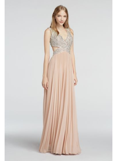 Long A-Line Cap Sleeves Prom Dress - Betsy and Adam