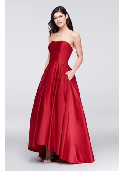 High-Low Lamour Satin Ball Gown - Davids Bridal