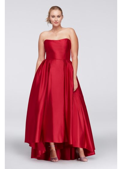 High Low Lamour Satin Plus Size Ball Gown David 39 S Bridal