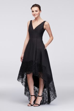 Short black lace prom dress