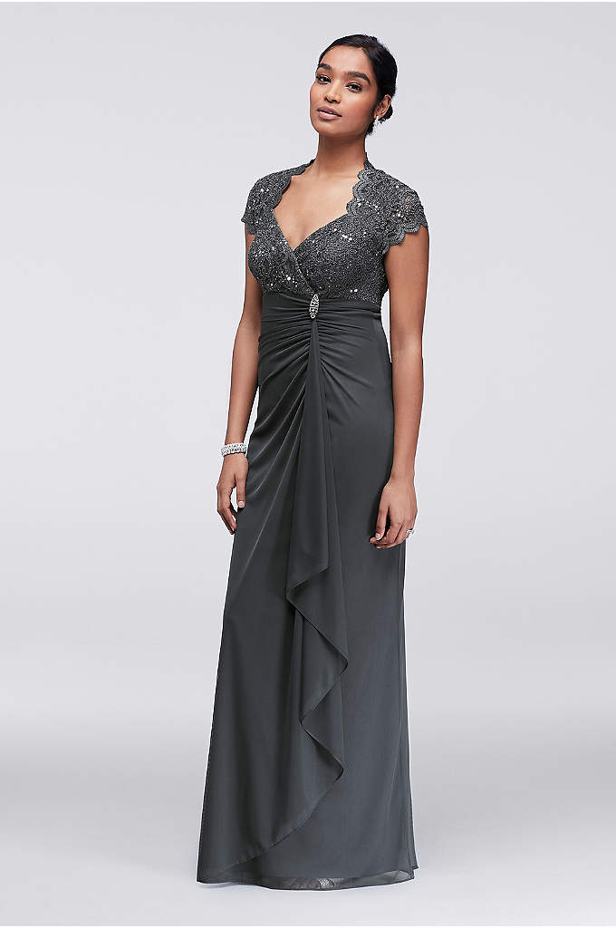 Gathered Jersey Dress with Scalloped Lace Bodice - This A-line dress sparkles from the scalloped sequin