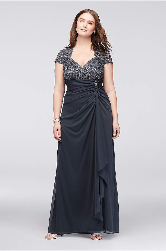 Gathered Jersey Plus Size Dress with Lace Bodice - This plus size A-line dress sparkles from the