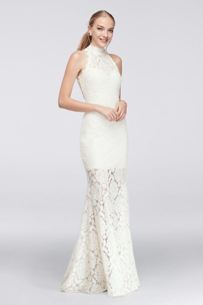floral lace highneck gown with open back davids bridal