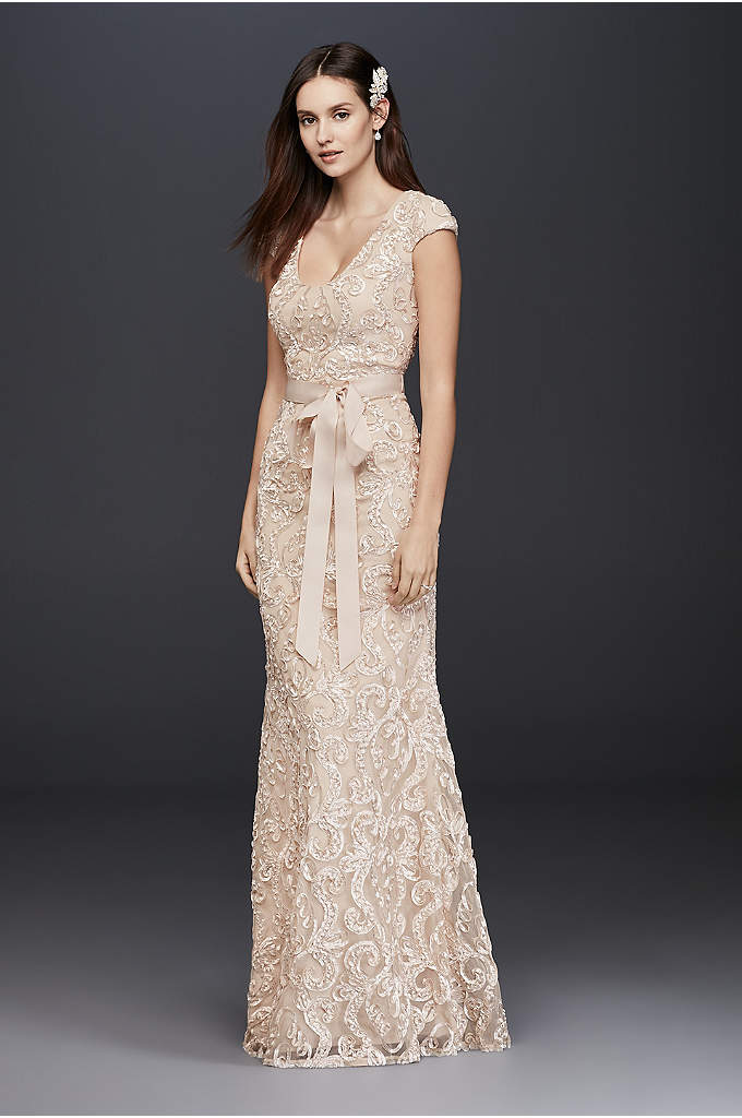 Cap Sleeve Soutache Lace Dress with Grosgrain Sash - This long sheath dress features a flattering scoop