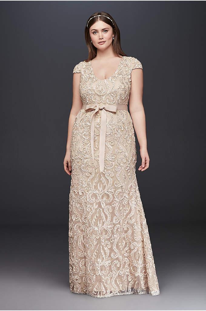 Cap Sleeve Soutache Lace Plus Size Dress with - This long, plus-size sheath dress features a flattering