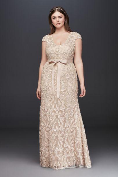 cap sleeve soutache lace plus size dress with sash   david's bridal