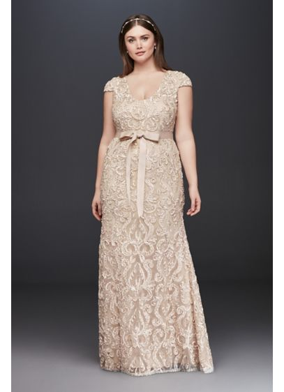 Cap Sleeve Soutache Lace Plus Size Dress with Sash | David\'s Bridal