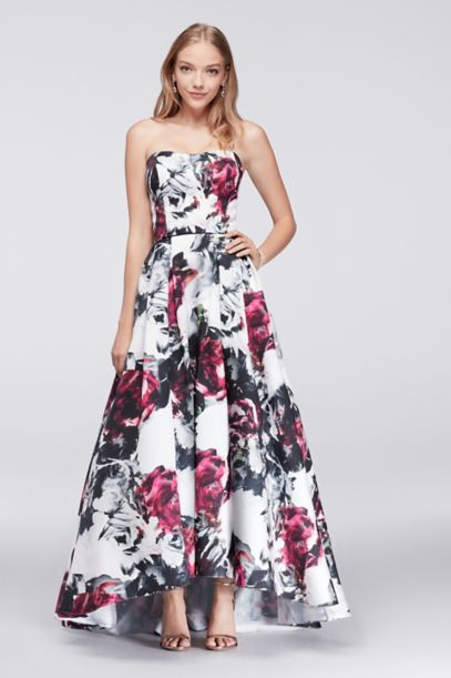 High-Low Floral Satin Ball Gown | David's Bridal