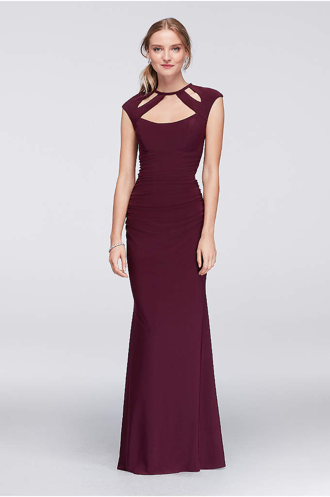 Ruched Sheath Dress With Cutout Neckline - This head-turning column dress combines the ease of