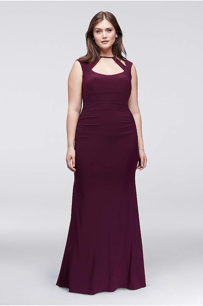 Ruched Plus Size Sheath Dress With Cutout Neckline - This head-turning plus size column dress combines the