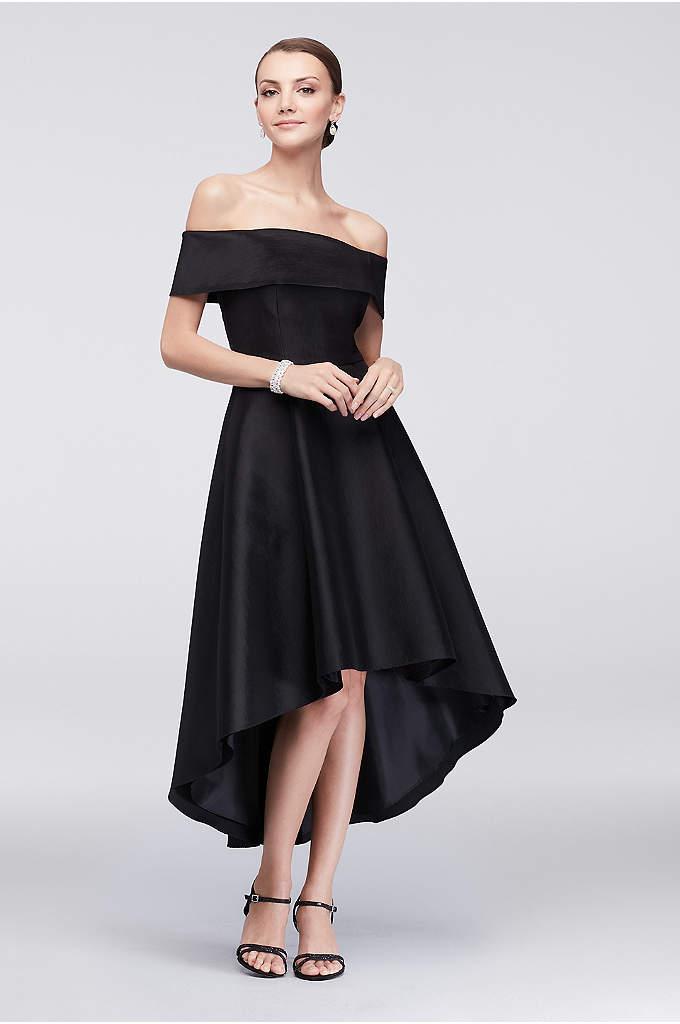 Off-the-Shoulder Taffeta Cocktail Dress - The off-the-shoulder neckline of this knee-length taffeta dress