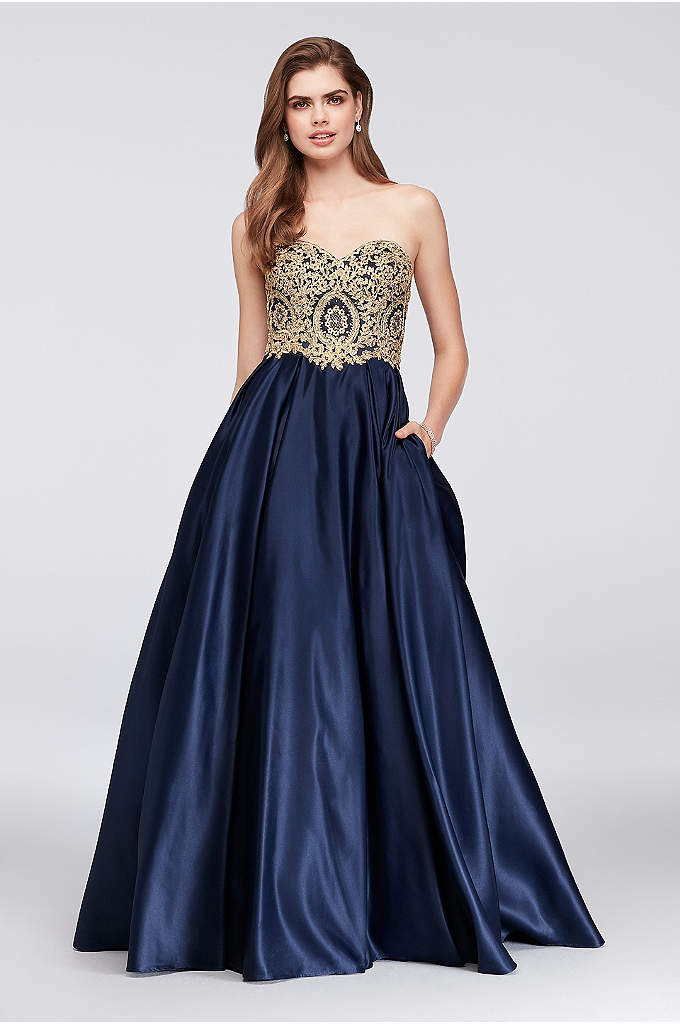 Gold Corded Lace and Satin Ball Gown - Leafy gold corded lace appliques, sprinkled with iridescent