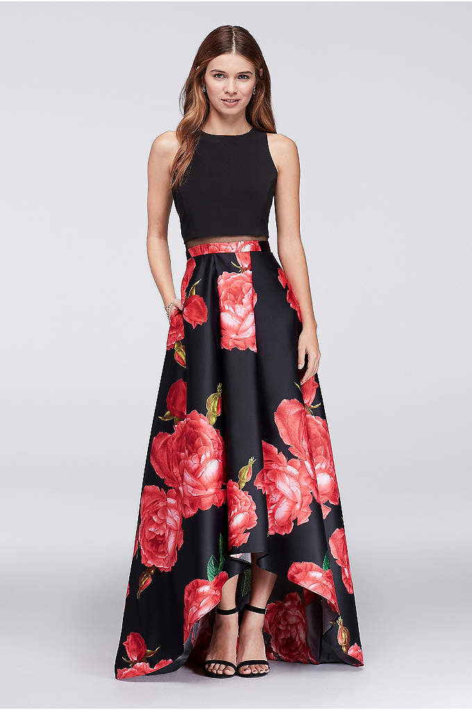 High-Low Ball Gown with Illusion Waistline - With a full, rose-printed charmeuse skirt and comfy