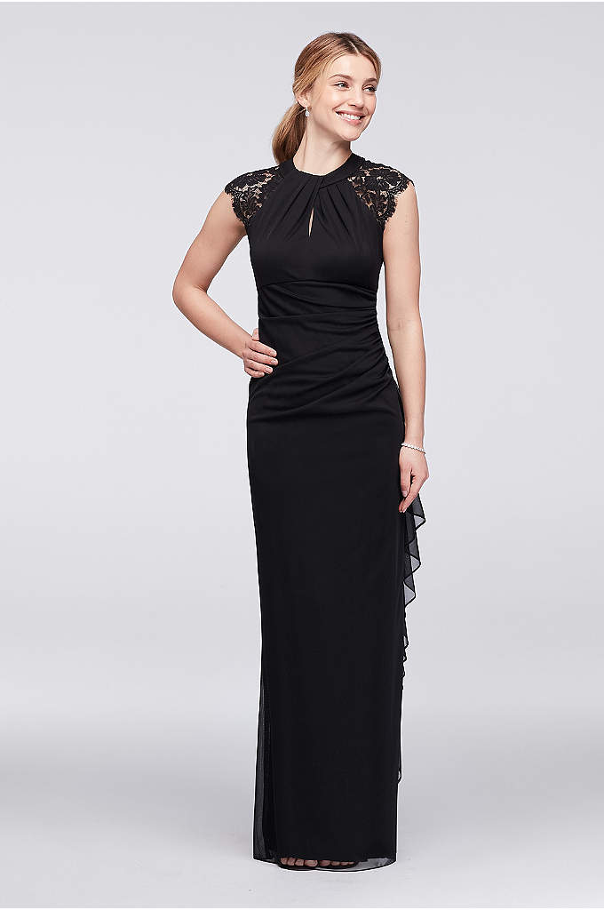 Lace-Back Cap Sleeve Long Dress with Ruffle - Featuring a bold lace back and a looped