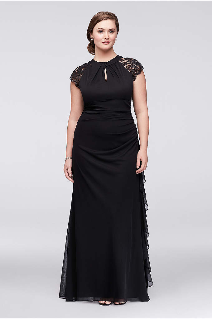 Lace-Back Cap Sleeve Plus Size Dress with Ruffle - Featuring a bold lace back and a looped