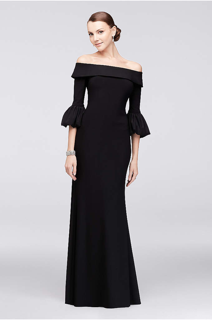Off-the-Shoulder Bell-Sleeve Jersey Gown - Flared lantern sleeves and a cuffed off-the-shoulder neckline